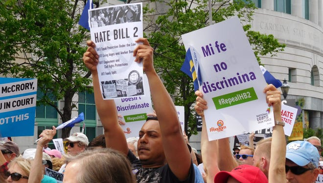 Demonstrators protest HB2 in Raleigh April 25.