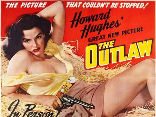 "The Howard Hughes film ""The Outlaw"" marketed the physical assets of star Jane Russell in a way that had never been done before."