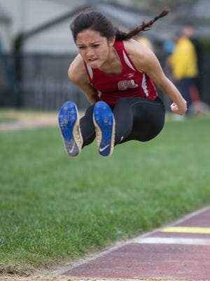 Fair Lawn senior Britney Del Mundo with the wind beneath her feet during the girls long jump at the Bergen County Relays track championship at River Dell High School in    River Edge on Saturday, April 22, 2017.