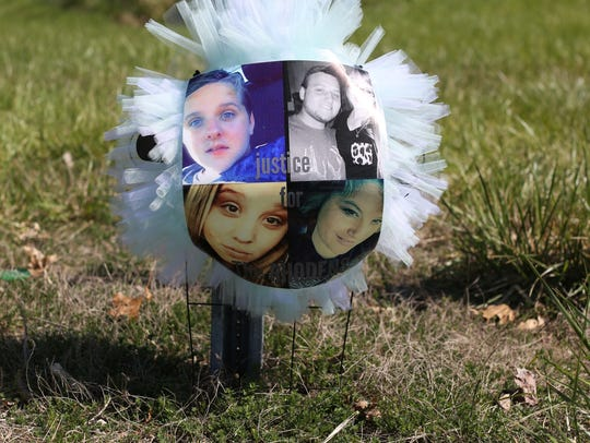 A makeshift memorial for the victims at Ohio 32 and