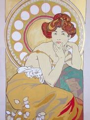 "A replica of Alphonse Mucha's ""Topaz"" painted by Feist-Weiller"
