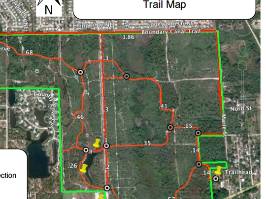 The eastern red trail loop is on the right of this image.