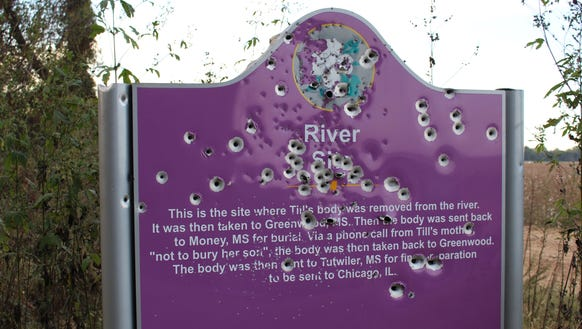 Last fall, bullets riddled this historical sign marking