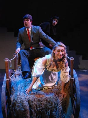 """Upon arriving in Transylvania, Frederick Frankenstein (Chase Cashion) gets to go on a hayride with his new assistants Inga (Caitlyn Pagano) and Igor (Zack Silver) in """"Young Frankenstein""""."""