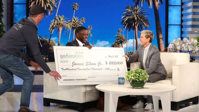 James Shaw Jr. appeared on the 'Ellen' show after he was recognized as a hero in a deadly shooting. Ellen DeGeneres called him a 'brave man' and presented him with a $225,000 check from GoFundMe.