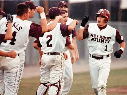 Former Henderson County baseball player Josh King, right, is one of the 2018 inductees into the Henderson County Sports Hall of Fame.