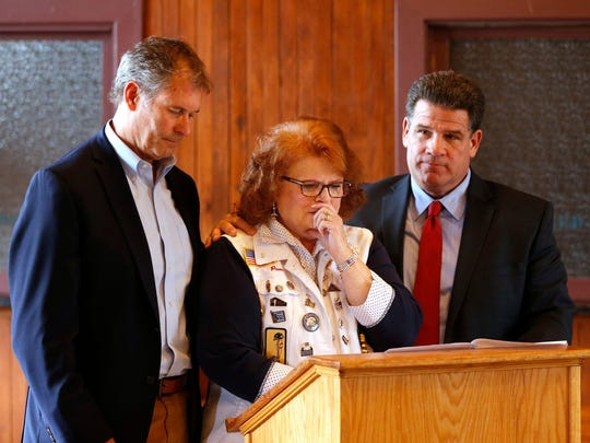 "Flanked by mayors John Dennis, left, of West Lafayette, and Tony Roswarski of Lafayette, Gold Star Mother Pam Mow becomes emotional as she announces Tuesday that the Honor Flight will come to a end after the final flight in 2018. Mow?s son, Cody Putnam, died in 2007 in Iraq.   John Terhune/Journal & Courier Flanked by mayors John Dennis, left, of West Lafayette, and Tony Roswarski of Lafayette, Gold Star Mother Pam Mow becomes emotional as she announces Tuesday, March 6, 2018, that the Honor Flight will come to a end after the final flight in 2018. ""It's just time to end this noble effort,"" said Mow. A total of four Honor Flights will take place in 2018. Mow's son, Cody Putnam, died in 2007 in Iraq."