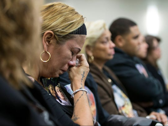 Daisy Garcia, mother of the victim, listens to the proceeding. A bail hearing takes place for Monique Moore, accused in the Neptune stabbing murder of Joseph A. Wilson before Judge David Bauman. 