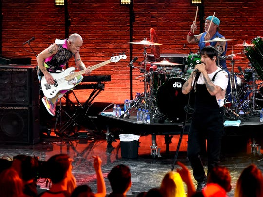 Flea, Anthony Kiedis and Chad Smith of Red Hot Chili