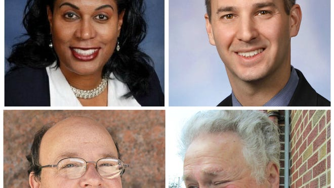 Candidates for Lansing mayor in the August primary include, clockwise from top left, Judi Brown Clarke, Andy Schor, Michael Gillenkirk and Harold Leeman. Missing is Danny Anthony Trevino.