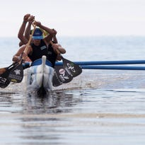 Paddlers participated in the first annual North Shore Extreme race at the Salton Sea on the first of three day event which included a 10 mile and a five mile course.