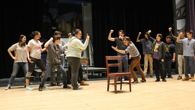 """The cast and ensemble of Rhinebeck High School's """"Damn Yankees"""" includes more than 40 students. Here they rehearse choreography for """"Six Months."""""""