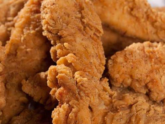 A pile of chicken fingers.