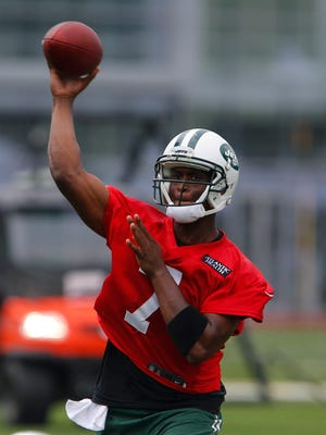 New York Jets quarterback Geno Smith (7) during first day of training camp at Atlantic Health Jets Training Center on July 30, 2015.