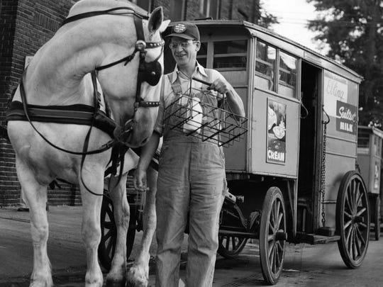 This photo shows that some milkmen were still using horses for deliveries in 1954.
