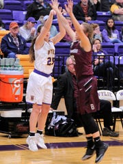Wylie's Lauren Fulenwider follows through on a 3-point shot during Friday's 52-29 win against Brownwood. Fulenwider hit nine 3s in the game to finish with 27 points.