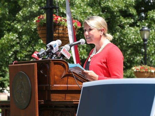 Renee Snyder, vice president of development for Special Olympics New York speaks during Tuesday's press conference held at Vassar College in Poughkeepsie on June 5, 2018. The Special Olympics Summer Games are going to be held in Dutchess County for 2019 and 2020.