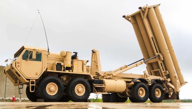 A Terminal High Altitude Area Defense, or (THAAD) weapon system assigned to Task Force Talon, 94th Army Air and Missile Defense Command. Task Force Talon is responsible for the U.S. Army's first forward deployed Terminal High Altitude Area Defense unit on Andersen Air Force Base, Guam, Oct. 26, 2017.