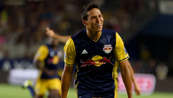 Holmdel native Sean Davis celebrates his first MLS goal last Sunday for the New York Red Bulls  in their road draw against the  LA Galaxy in Carson, California.