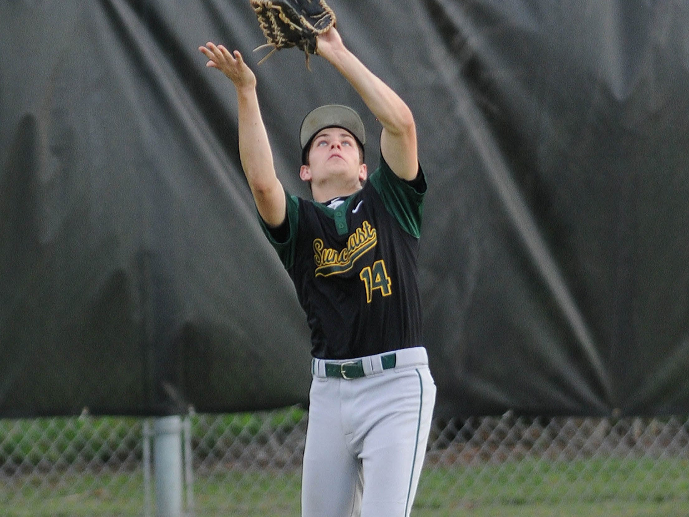 Liam Lyona of Suncoast makes a catch during Tuesday's game against Bayside at Palm Bay High school.