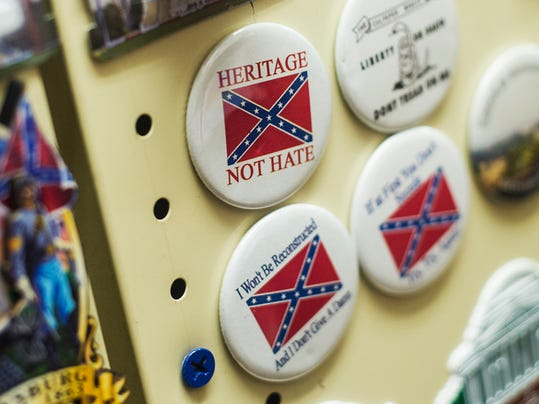 Confederate flag pins are on display at a store in downtown Gettysburg.