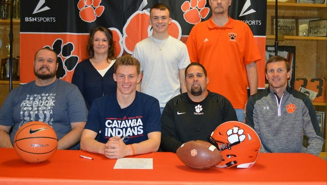 Rosman's Deland Thomas signed with Catawba College to play football and basketball