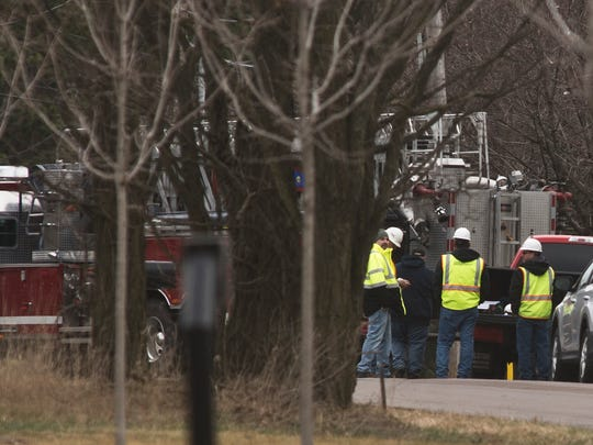 NG Advantage crews and Milton fire monitor a gas leak in a trailer on Gonyeau Road in Milton on Saturday morning.