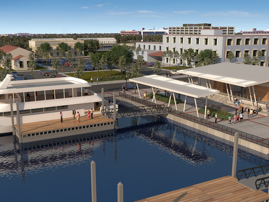 Rendering of proposed ferry terminal in downtown Pensacola