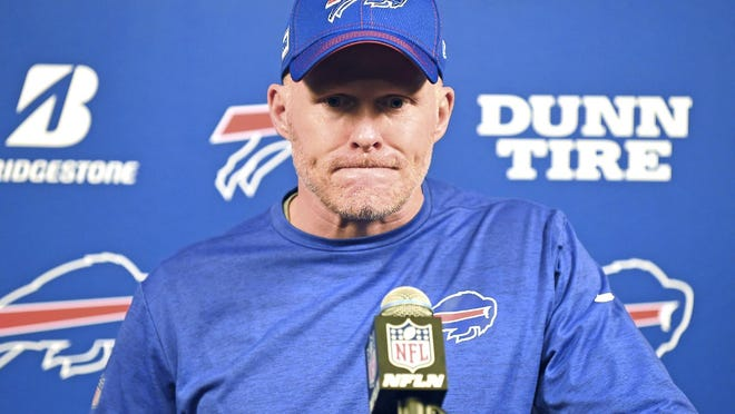 Coach Sean McDermott listens to a question after the Buffalo Bills' Jan. 4, 2020, wild-card game in Houston against the Texans. The Bills have signed McDermott to a multi-year contract extension.