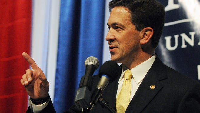 Chris McDaniel speaks to his supporters after his election campaign party Tuesday at the Lake Terrace Convention Center. McDaniel will face off against U.S. Sen. Thad Cochran in a June 24 runoff in the Republican primary for U.S. Senate.