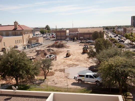 Construction continues on Monday at the Downtown Civic