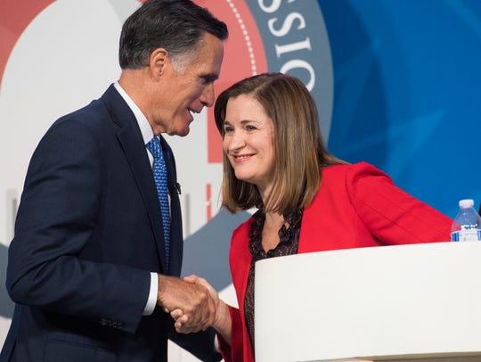 U.S. Senate candidates Mitt Romney (R) and Jenny Wilson