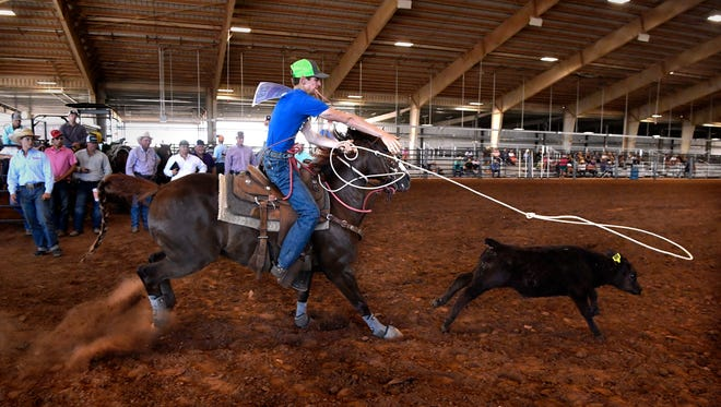 Colton Greene of Rock Springs competes in High Stakes Calf Roping on Thursday at the Outdoor Arena at the Taylor County Expo Center. The Texas High School Rodeo Association state finals continues Friday with boys and girls Cutting, Breakaway Roping and other rodeo performances.