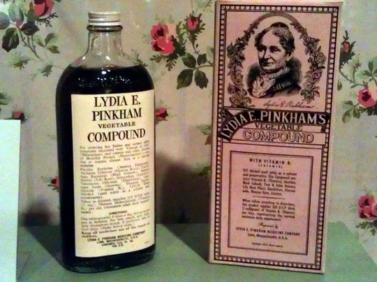 A Lydia Pinkham compound bottle and box.