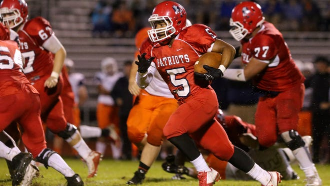 Oakland's Kendrick Johnson (5)  has 82 carries for 685 yards and eight total touchdowns this season for the Patriots.