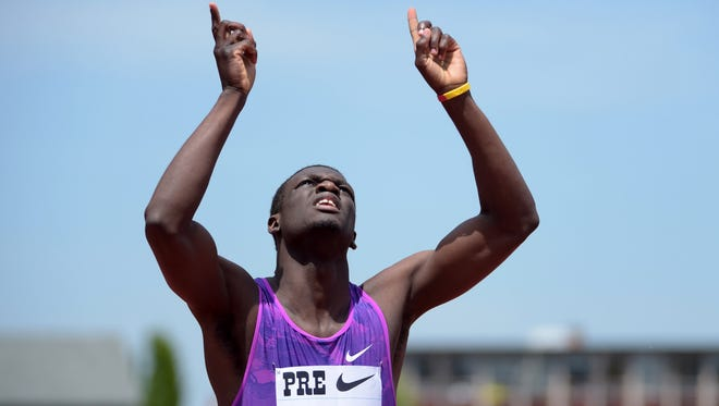 Kirani James celebrates after winning the 400m in 43.95 during the 41st Prefontaine Classic at Hayward Field.