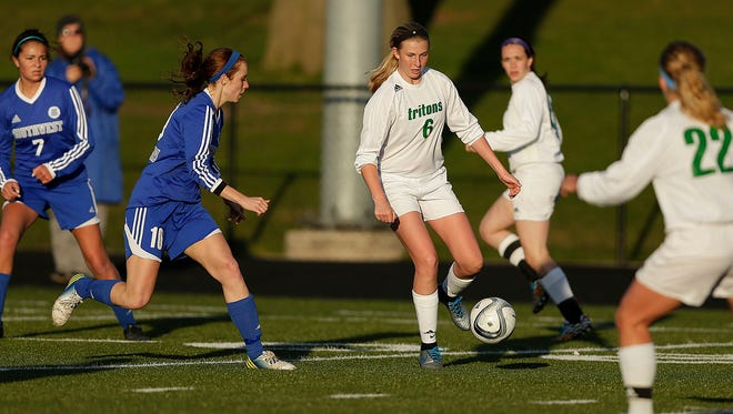 Green Bay Notre Dame forward Grace Shaw (6) netted two hat tricks last week.