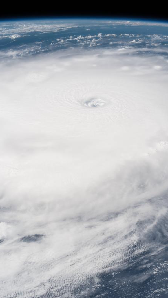 NASA's International Space Station (ISS) on September 6, 2017, shows the eye of Hurricane Irma clearly visible from the ISS as it orbited over the Category 5 storm in the Atlantic Ocean, September 5, 2017.