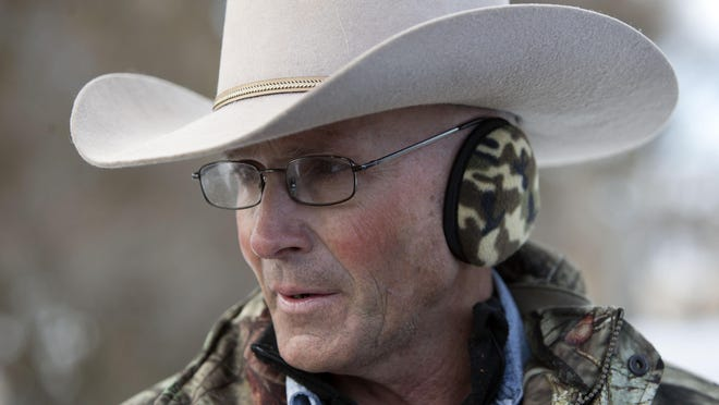 LaVoy Finicum pauses while talking to the media at the headquarters of the Malheur National Wildlife Refuge in January 2016.