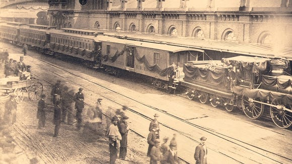 Thirty million mourners watch the funeral train carrying the body of Abraham Lincoln from Washington, D.C., back to Illinois.