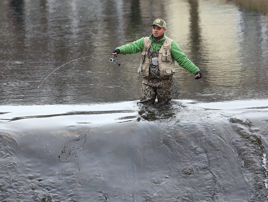 Rockaway River on the opening of trout fishing season