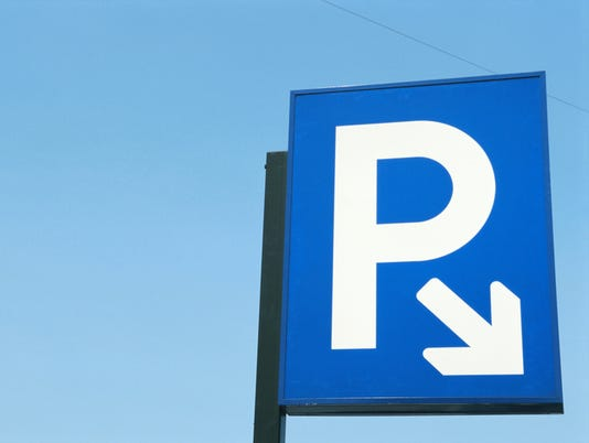 Parking sign, close-up, low angle view