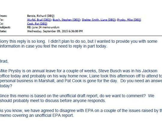 This e-mail sent by an MDEQ supervisor dismisses concerns raised by an EPA drinking water specialist.