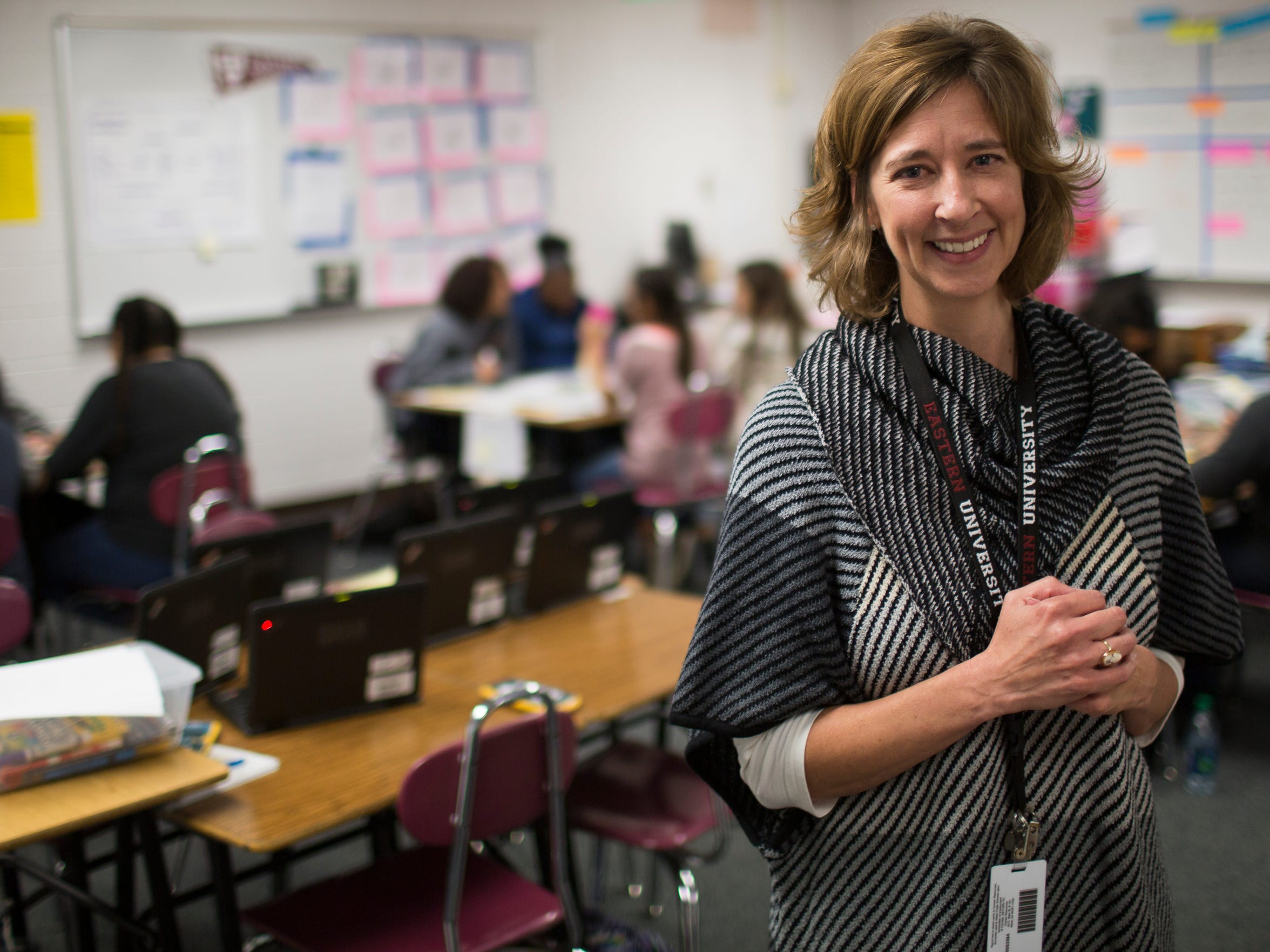 "Math teacher Karin Lingle's ""pre-mediation"" program teaches the day's lesson ahead of time to a group of students needing extra support. ""I hoped it would build their confidence so they would participate with the rest of the class,"" she says."