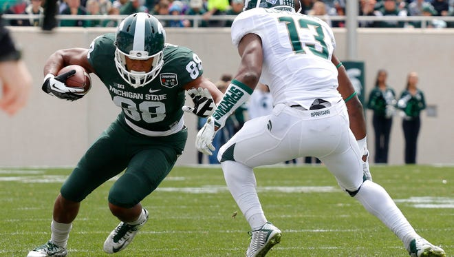 Michigan State's Monty Madaris, left, runs after a pass reception during the spring game April 25, 2015, in East Lansing.