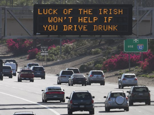 An ADOT sign on March 17, 2016, on Interstate 10 near 7th Street in Phoenix, advises drivers against driving drunk.
