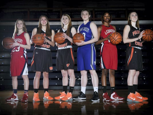 Gathering at Lebanon Valley College's Sorrentino Gymnasium on Wednesday to take one last bow for their efforts this season were the Lebanon Daily News All-County first team members, from left, Lebanon's Brittany Ulrich, Palmyra's Katy McClellan and Kristen Smoluk, Cedar Crest's Alyssa Austin, Lebanon's Alexis Hill and Palmyra's Maria Tukis.