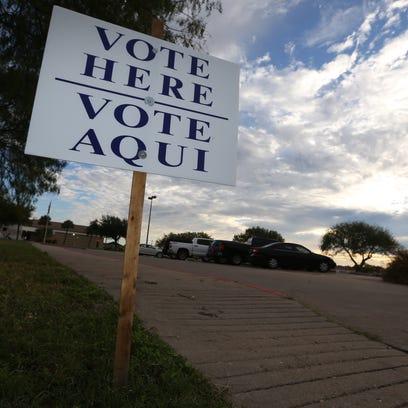 Rachel Denny Clow/Caller-TimesA lone vote here sign