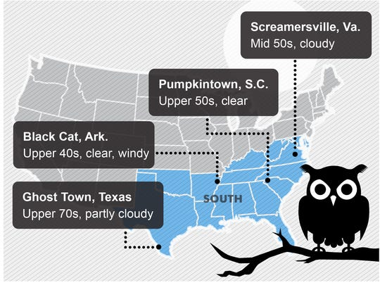 Halloween weather forecast: Cold, snow in Midwest