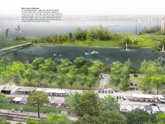 A rendering shows redevelopment proposals for Wolf River Harbor and Mud Island.